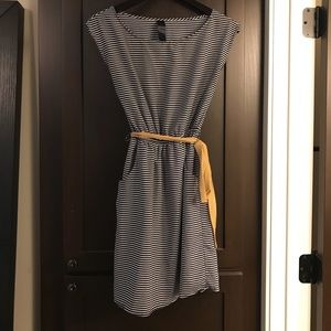 Navy & White Striped Dress with Pockets!